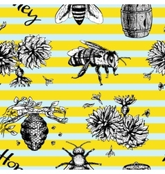 Seamless pattern with bees and flowers vector