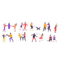 Self defense icon set vector