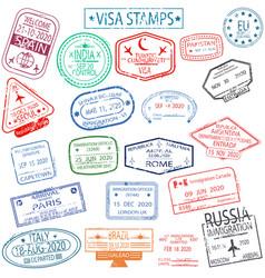 Set arrival and departure visa stamps vector