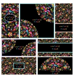 Set black business cards with Floral Mexican vector