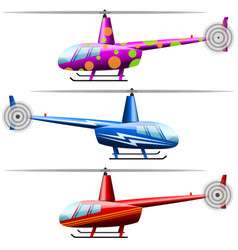 Set helicopters white background isolated vector