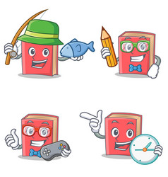 Set of red book character with fishing student vector