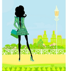 Shopping girl with bags vector