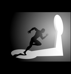 Silhouette of a man running into a keyhole vector