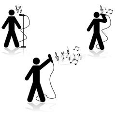 Singer in live concert vector