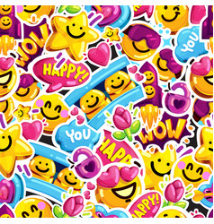 Smiley faces sticker emoji love seamless pattern vector