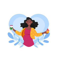 Smiling pregnant woman is craving cupcake vector