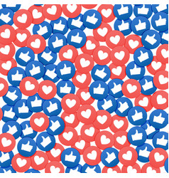 Social network marketing like and heart icon vector