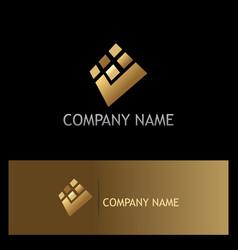 Square check mark digital gold logo vector
