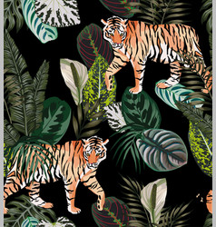 Tiger dark jungle pattern vector
