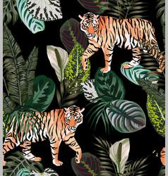 tiger dark jungle pattern vector image