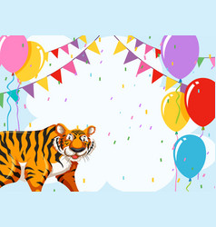 tiger on party template vector image