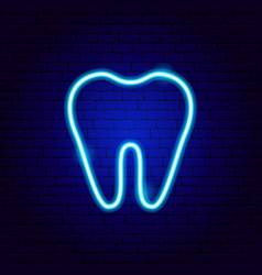 Tooth neon sign vector