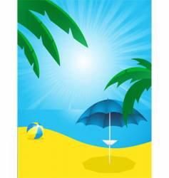 tropical beach and parasol vector image vector image