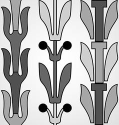 Vintage decorative set monochrome floral pattern vector