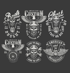 Vintage monochrome motorcycle labels set vector