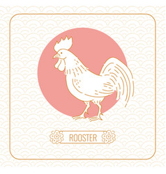 Year rooster chinese horoscope line art and vector