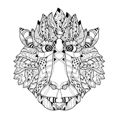 Zentangle monkey head doodle Hand drawn vector