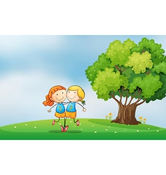 Bestfriends at the hilltop near the tree vector image vector image
