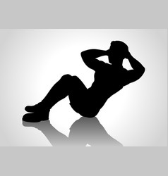 Cartoon silhouette of a man doing sit up vector