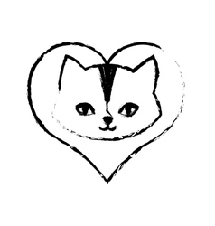 cat feline curious small love sketch vector image