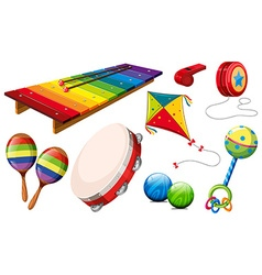 Different kind of musical instruments and toys vector image vector image