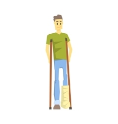 Guy With Cast On Leg With Crouches Young Person vector image