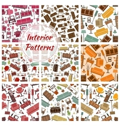 Home interior furniture and lamp seamless patterns vector image vector image
