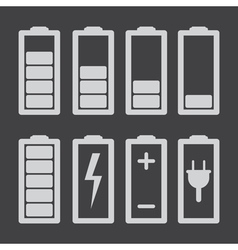 Set of battery charge level indicators isolated vector image vector image