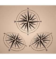 Compass roses set vector image vector image