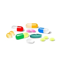 Different pills on white background vector image