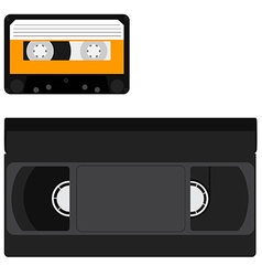 Cassette and vhs tape vector image vector image