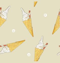 ice-cream cone seamless pattern vector image vector image
