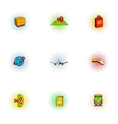 Shipping icons set pop-art style vector