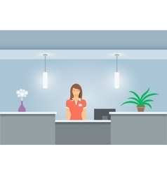 Woman receptionist stands at reception desk front vector image vector image
