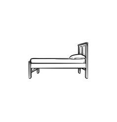 bed with pillow hand drawn sketch icon vector image