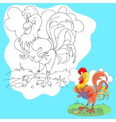 coloring page of funny farm cock vector image
