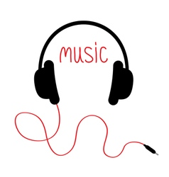 Headphones with red cord and word Music Card Flat vector image