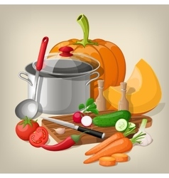 Kitchen utensils and vegetables kitchen vector image vector image