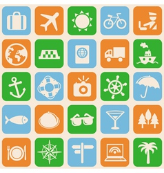 seamless pattern with travel icons vector image vector image