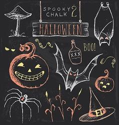 Vintage Chalkboard Halloween Hand Drawn Set vector image vector image
