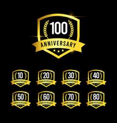100 years anniversary set gold emblem old design vector