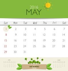 2016 calendar monthly calendar template for May vector