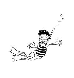 a floating child with a mask and flipper vector image