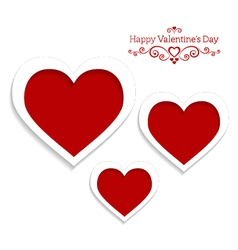 abstract card for Valentines Day with three hearts vector image
