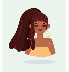 African american girl with hair rasta braids vector