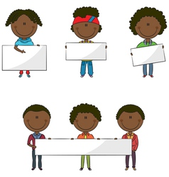African-American students with empty banners vector image