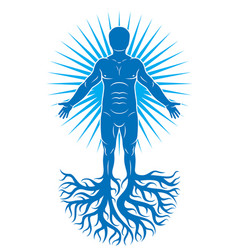 art of human being made using tree roots eco vector image