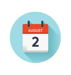 August 2 flat daily calendar icon date vector