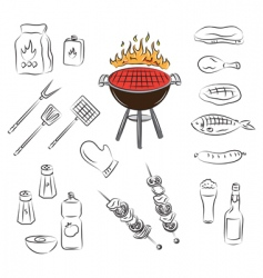 barbecue set vector image vector image